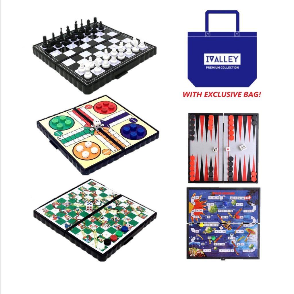 Juego de mesa de bolsillo y de viajes - juego de 5 en 1