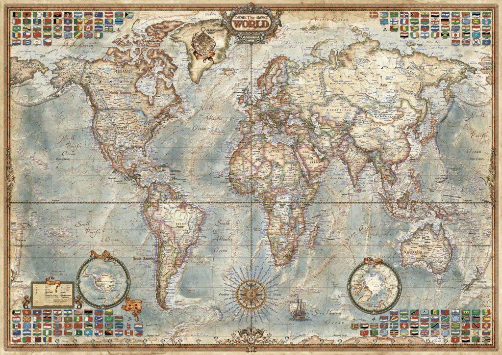Puzzles de mapas del mundo - Puzzle mapamundi de 2000 piezas