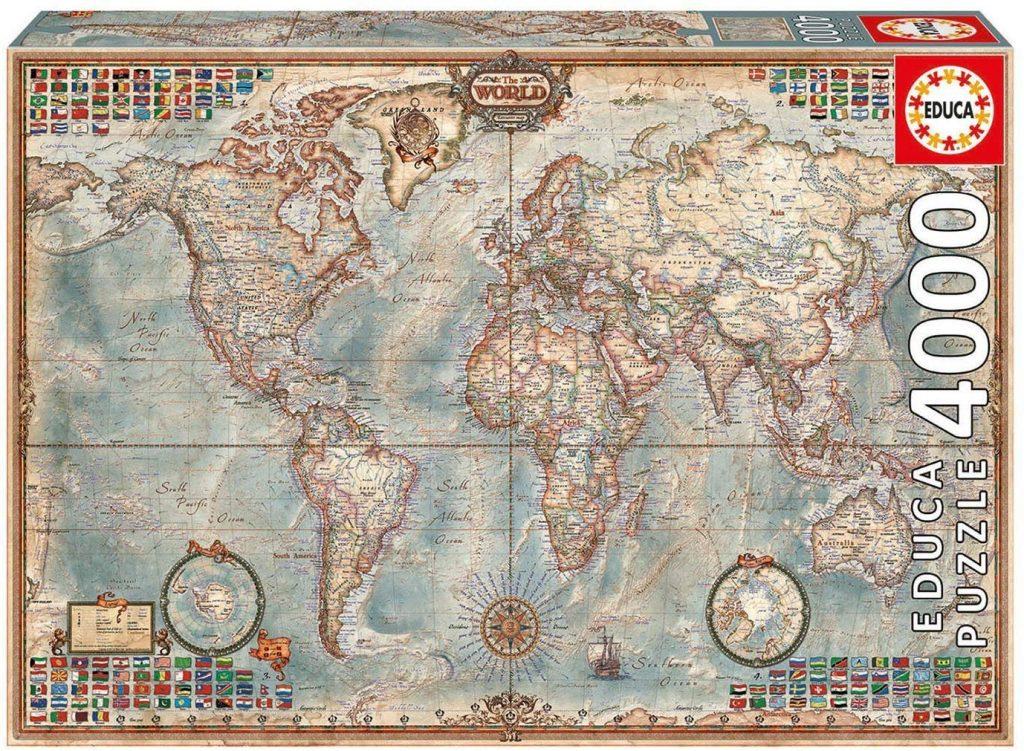 Puzzles de mapas del mundo - Puzzle mapamundi - Puzzle Mapa del Mundo político y físico de 4000 piezas