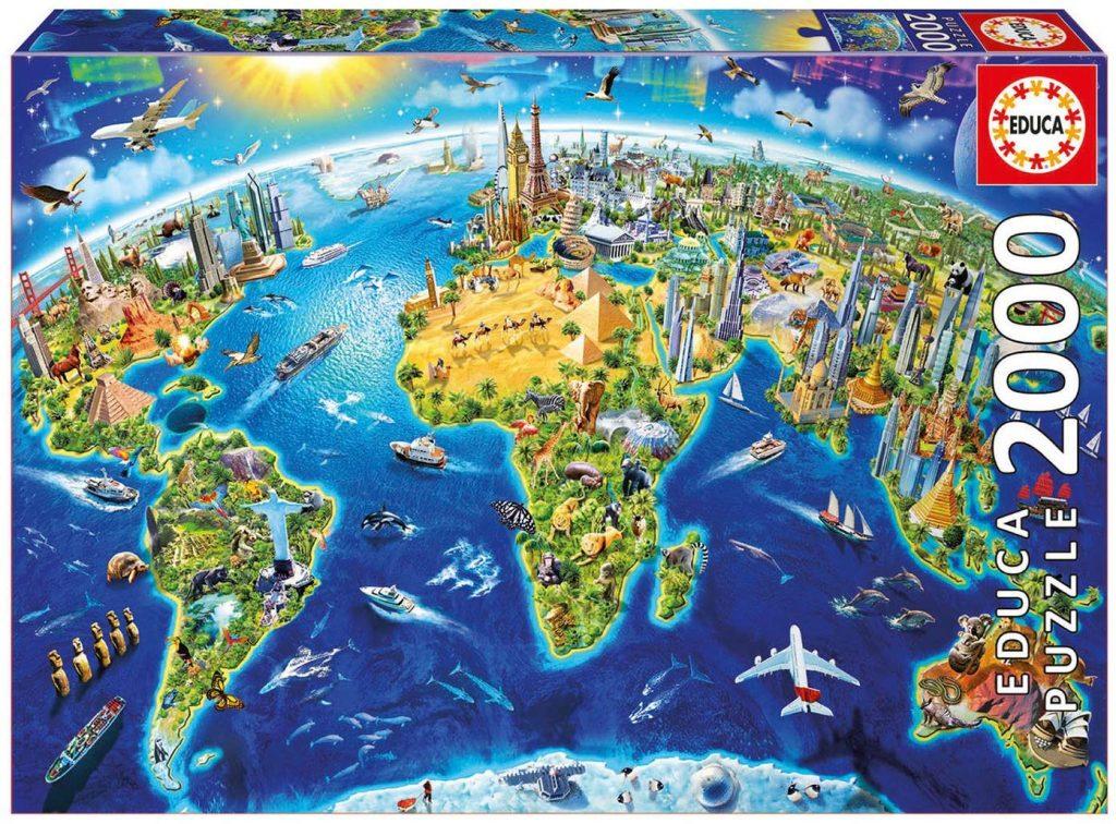 Puzzles de mapas del mundo - Puzzle mapamundi - Puzzle Mapa del mundo - Simbolos del mundo