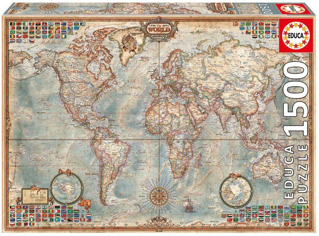 Puzzles de mapas del mundo - Puzzle mapamundi - Puzzle Mapa del mundo político de 1500 piezas