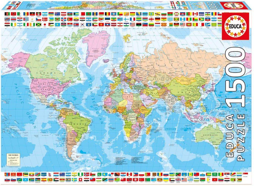 Puzzles de mapas del mundo - Puzzle mapamundi - Puzzle Mapamundi Político de 1500 piezas