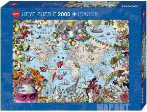 Puzzle de Mapa del mundo físico y político de 2000 piezas de diseño