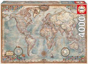 Puzzle de Mapa del mundo físico y político de 4000 piezas