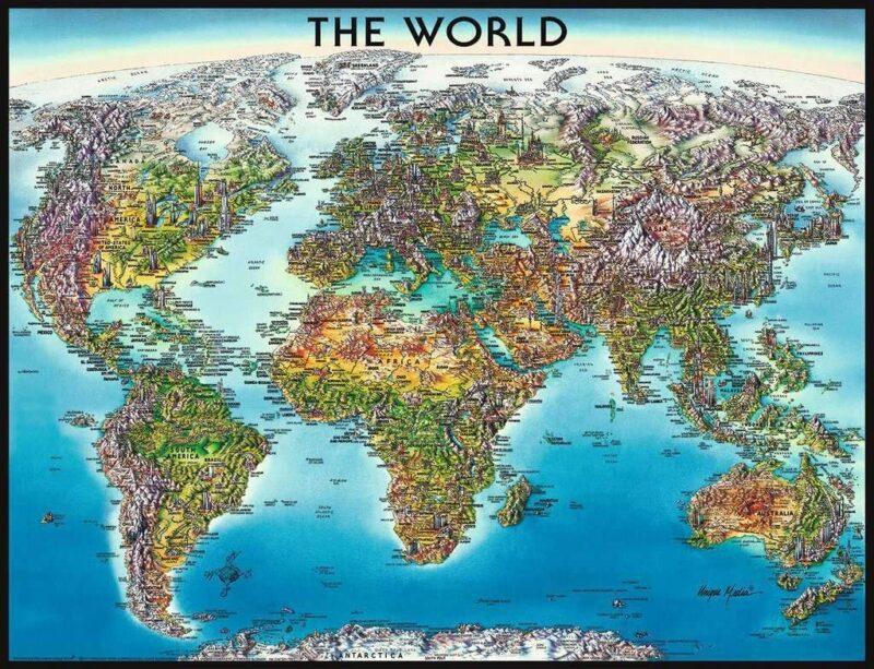 Puzzle de Mapa del mundo físico y político