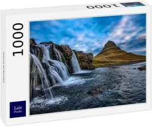 Los mejores puzzles de Islandia - Puzzle de la cascada Kirkjufell de Islandia de 1000 Piezas con mucha agua