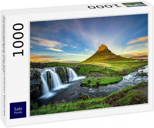 Los mejores puzzles de Islandia - Puzzle de la cascada Kirkjufell de Islandia de 1000 Piezas día despejado