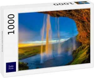Los mejores puzzles de Islandia - Puzzle de la cascada Seljalandsfoss de Islandia de 1000 Piezas desde dentro 2