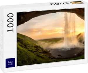 Los mejores puzzles de Islandia - Puzzle de la cascada Seljalandsfoss de Islandia de 1000 Piezas desde dentro 3