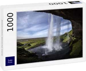 Los mejores puzzles de Islandia - Puzzle de la cascada Seljalandsfoss de Islandia de 1000 Piezas desde dentro
