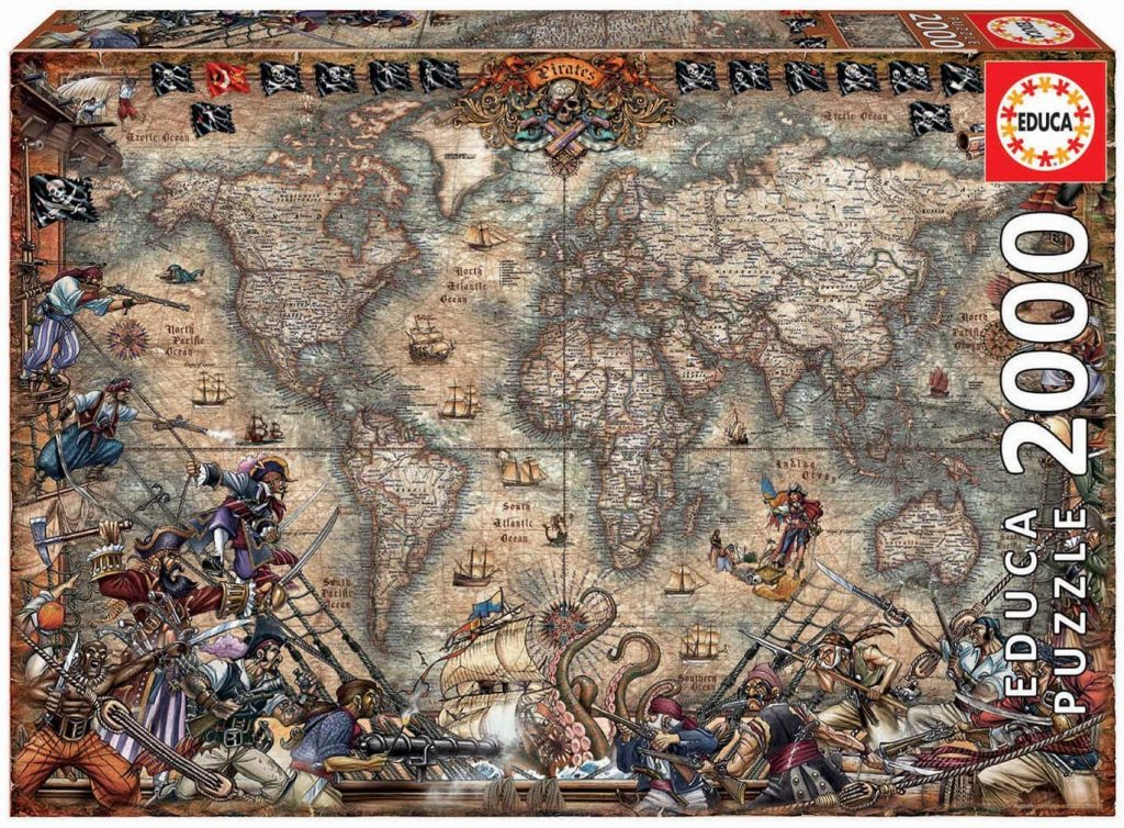 Puzzles de mapamundi de piratas