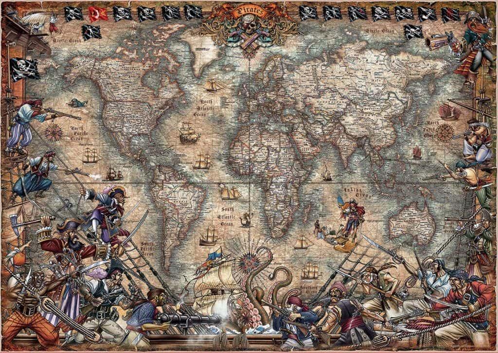 Puzzles de mapamundi de piratas hecho