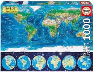 Puzzles de mapamundi. Puzzle del mapa del mundo con neón