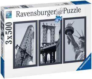 Puzzle de Nueva York de 3 x 500 piezas de Ravensburger - Los mejores puzzles de ciudades de EEUU - Puzzle de New York