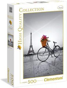 Puzzle de Torre Eiffel y bici de Francia de 500 piezas de Clementoni - Los mejores puzzles de París de Francia - Puzzles de ciudades del mundo