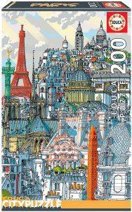 Puzzle de monumentos de París de Francia de 200 piezas de Educa - Los mejores puzzles de París de Francia - Puzzles de ciudades del mundo