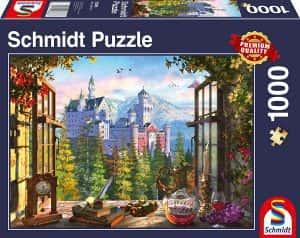 Puzzles de Castillo Neuschwanstein - Puzzle del Castillo Neuschwanstein desde la ventana de 1000 piezas de Schmidt