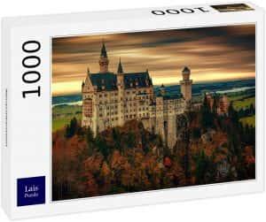 Puzzles de Castillo Neuschwanstein - Puzzle panorama del Castillo Neuschwanstein de 1000 piezas de Lais anocheciendo