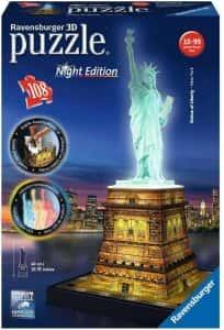 Puzzles de Nueva York - New York - Puzzle de la estatua de la libertad en 3D por la noche