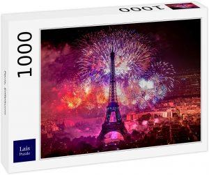 Puzzles de París - Puzzle de París de 1000 piezas de la Torre Eiffel con fuegos artificiales