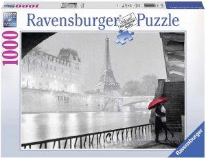 Puzzles de París - Puzzle de París de 1000 piezas de la Torre Eiffel lloviendo con pareja