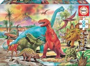 Puzzles de dinosaurios - Puzzle de 100 piezas de Educa de dinosaurios