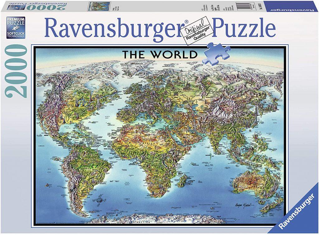 Puzzles del mapamundi - Puzzle mapa del mundo físico de 2000 piezas