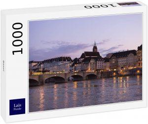 Los mejores puzzles de Basilea - Puzzle de vistas de Basilea de 1000 piezas de Lais de noche