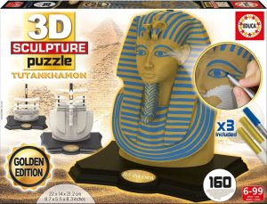 Los mejores puzzles de Egipto - Puzzle de Tutankamón en 3D de 160 piezas versión golden
