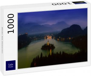 Los mejores puzzles de Eslovenia - Puzzle de 1000 piezas de vistas del Lago Bled de noche en Eslovenia