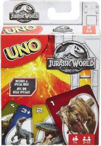 Juego de mesa de Uno Jurassic World de Mattel - Los mejores juegos de mesa del UNO - Juego de mesa de cartas, el UNO