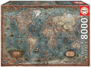 Los mejores puzzles de 8000 piezas - Puzzle de Mapamundi histórico de 8000 piezas de Educa