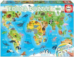Los mejores puzzles de Mapamundi - Puzzle de Mapa del mundo con animales de 150 piezas de Educa