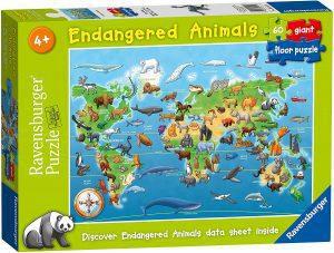 Los mejores puzzles de Mapamundi - Puzzle de Mapa del mundo con animales de 60 piezas de Ravensburger