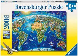 Los mejores puzzles de Mapamundi - Puzzle de Mapa del mundo con monumentos de 200 piezas de Ravensburger