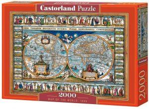Los mejores puzzles de Mapamundi - Puzzle de Mapa del mundo de 1639 de 2000 piezas de Castorland