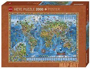 Los mejores puzzles de Mapamundi - Puzzle de Mapa del mundo de 2000 piezas de Heye