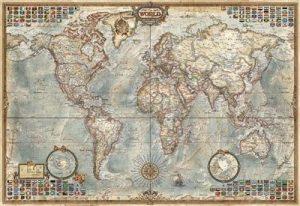 Los mejores puzzles de Mapamundi - Puzzle de Mapa del mundo en miniatura de 1000 piezas de Educa