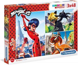Los mejores puzzles de Miraculous Ladybug - Puzzle de Miraculous Ladybug de 3x48 piezas de Clementoni