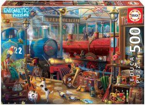 Los mejores puzzles de Serie Enigmatic de Educa - Puzzle de Estación de Trenun enigma en cada rincón de la imagen de 500 piezas de Enigmatic de Educa