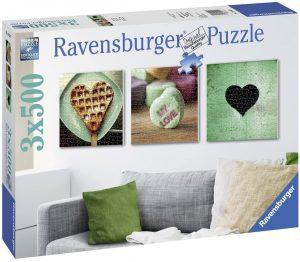 Los mejores puzzles de corazón - Puzzle de tríptico de corazones de 3x500 piezas de Ravensburger