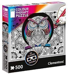 Los mejores puzzles de mandalas - Puzzle de mandala de búho para colorear de 500 piezas de Clementoni