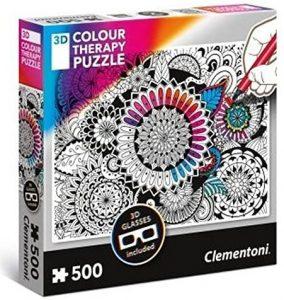 Los mejores puzzles de mandalas - Puzzle de mandala de flores para colorear de 500 piezas de Clementoni