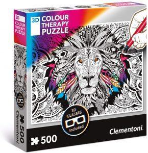 Los mejores puzzles de mandalas - Puzzle de mandala de león para colorear de 500 piezas de Clementoni