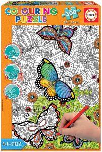 Los mejores puzzles de mandalas - Puzzle de mandala de mariposas para colorear de 300 piezas de Educa