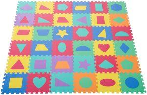 Los mejores puzzles de suelo para bebés - Puzzle de figuras geométricas de alfombra de HOMCOM - Puzzles infantiles de alfombra de suelo para bebés