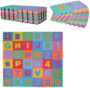 Los mejores puzzles de suelo para bebés - Puzzle de letras y números de alfombra de HOMCOM - Puzzles infantiles de alfombra de suelo para bebés
