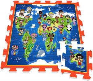 Los mejores puzzles de suelo para bebés - Puzzle de mapa del mundo de alfombra - Puzzles infantiles de alfombra de suelo para bebés