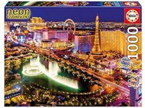 Los mejores puzzles fluorescentes que brillan en la oscuridad - Puzzle Neon Fluorescent de Las Vegas de 1000 piezas de Educa