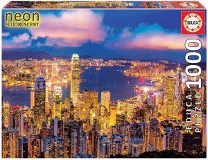 Los mejores puzzles fluorescentes que brillan en la oscuridad - Puzzle Neon Fluorescent de Skyline Hong Kong de 1000 piezas de Educa